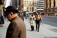 Manhattan, New York - February 23, 1973. Jean Pierre Cassel with wife Sabine Litique outside the New York Public Library on 5th Avenue and 42nd Street. He (27 October 1932 - 19 April 2007) was a French actor who was discovered by actor and director Gene Kelly, and is best known for his roles in Male Companion, by Philippe de Broca, and L' Armée des Ombres (Army of Shadows), the 1969 French film directed by Jean-Pierre Melville.