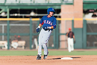 AZL Rangers shortstop Frainyer Chavez (60) holds at second base during an Arizona League game against the AZL Giants Black at Scottsdale Stadium on August 4, 2018 in Scottsdale, Arizona. The AZL Giants Black defeated the AZL Rangers by a score of 3-2 in the first game of a doubleheader. (Zachary Lucy/Four Seam Images)