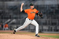 Pitcher Jeff Burke (14) of the Augusta GreenJackets delivers a pitch in a game against the Columbia Fireflieon Sunday, July 30, 2017, at Spirit Communications Park in Columbia, South Carolina. Augusta won, 6-0. (Tom Priddy/Four Seam Images)