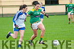 Kerry's Miriam O'Keeffe gets to the ball ahead of Monaghan's Rachel McKenna in the Ladies national Football League  round 4 clash at Listowel Emmets GAA ground on Sunday last.