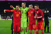 Aaron Ramsey, Wayne Hennessey, Gareth Bale and Chris Gunter of Wales Celebrate at full time during the UEFA Euro 2020 Group E Qualifier match between Wales and Hungary at the Cardiff City Stadium in Cardiff, Wales, UK. Tuesday 19th November 2019