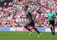 27th May 2018, Wembley Stadium, London, England;  EFL League 1 football, playoff final, Rotherham United versus Shrewsbury Town;  Alex Rodman of Shrewsbury Town celebrates after scoring his sides 1st goal in the 58th minute to make it 1-1 past Richard Wood of Rotherham United and Goalkeeper Marek Rodak of Rotherham United