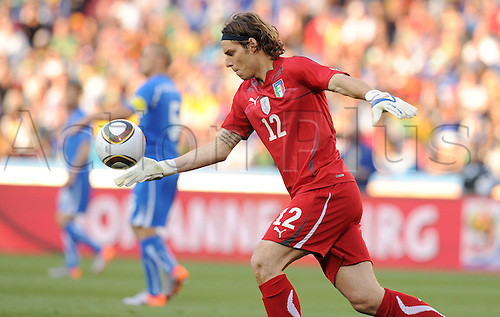 Federico Marchetti of Italy in action during the 2010 FIFA World Cup soccer match between Slovakia and Italy at Ellis Park Stadium on June 24, 2010 in Johannesburg, South Africa.