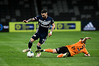 29th July 2020; Bankwest Stadium, Parramatta, New South Wales, Australia; A League Football, Melbourne Victory versus Brisbane Roar; Corey Brown of Brisbane Roar tries to tackle Storm Roux of Melbourne Victory