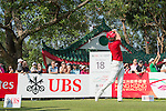Paul Waring of England tees off the 18th hole during the 58th UBS Hong Kong Golf Open as part of the European Tour on 11 December 2016, at the Hong Kong Golf Club, Fanling, Hong Kong, China. Photo by Marcio Rodrigo Machado / Power Sport Images