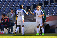San Diego, CA - Sunday January 29, 2017: Jozy Altidore, Jordan Morris during an international friendly between the men's national teams of the United States (USA) and Serbia (SRB) at Qualcomm Stadium.