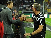 7th September 2014, Dortmund, Germany; Goalkeeping coach Andreas Kopke shakes hands with Jens Lehmann, commentator for RTL   ; Lehmann has been named to replace the outgoing Jurgen Klinsmann, as coach of Hertha Belin FC of the German Bundesliga team