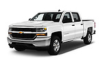 2018 Chevrolet Silverado-1500 1LS-Crew-Cab-Short-Box 4 Door Pickup Angular Front stock photos of front three quarter view