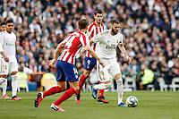 1st February 2020; Estadio Santiago Bernabeu, Madrid, Spain; La Liga Football, Real Madrid versus Atletico de Madrid; Karim Benzema (Real Madrid)  takes on Llorente of Atletico