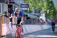 Maglia Azzurra / KOM leader Giulio Ciccone (ITA/Trek-Segafredo) securing his jersey by finishing among the GC contenders during the queen stage through the Dolomites<br /> <br /> Stage 20: Feltre to Croce D'Aune-Monte Avena (194km)<br /> 102nd Giro d'Italia 2019<br /> <br /> ©kramon