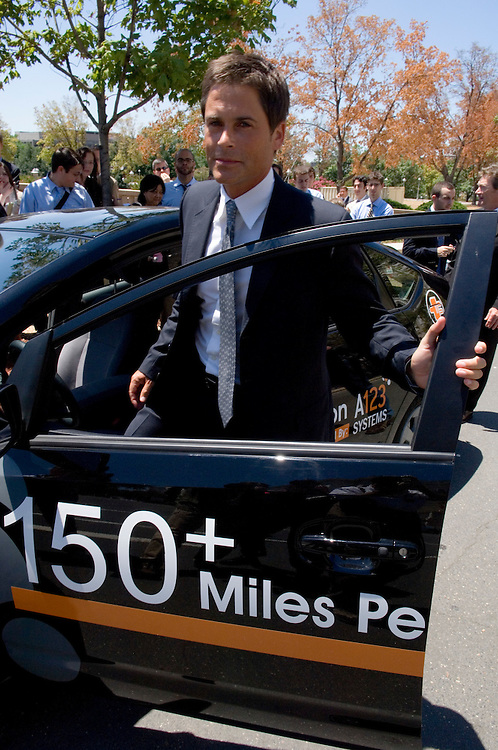 "Actor Rob Lowe takes a plug-in hybrid car for a test drive following the The House (Select) Energy Independence and Global Warming Committee hearing on ""Plugging into Energy Independence with 150 MPG Vehicles"" on Thursday, June 12, 2007."