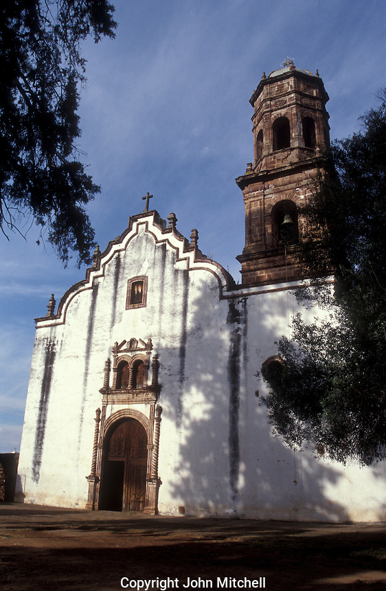 The Templo de Nuestra Senora de la Salud on the grounds of the 16th century Ex Convento de San Francisco in Tzintzuntzan on Lake Patzcuaro, Michoacan, Mexico