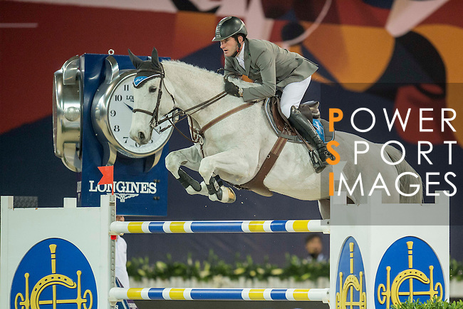 Philipp Weishaupt of Germany riding Solitaer during the Hong Kong Jockey Club Trophy competition, part of the Longines Masters of Hong Kong on 10 February 2017 at the Asia World Expo in Hong Kong, China. Photo by Juan Serrano / Power Sport Images