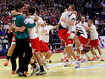 Niklas Landin Jacobsen (L) and other Denmark handball players celebrate victory in final men`s EHF EURO 2012 handball championship game against Serbia in Belgrade, Serbia, Sunday, January 29, 2011.  (photo: Pedja Milosavljevic / thepedja@gmail.com / +381641260959)