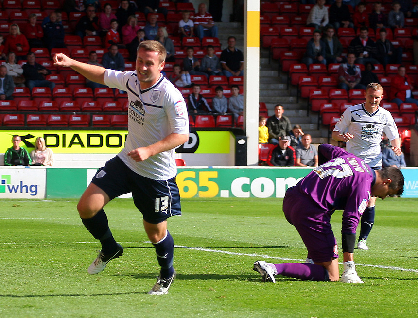 Preston North End's Joel Byrom celebrates scoring the opening goal ..Football - npower Football League Division One - Walsall v Preston North End - Saturday 22nd September 2012 - Banks's Stadium - Walsall..