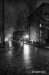 Night scene urban in black and white in fog. Oregon District.