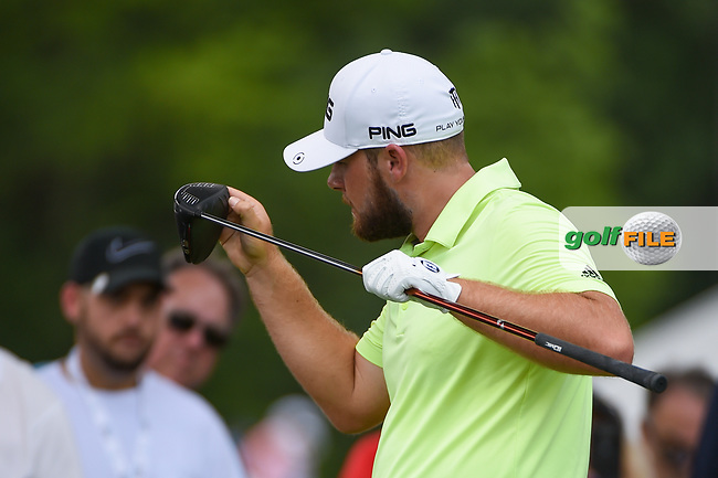 Tyrrell Hatton (ENG) looks over his driver on 3 during round 3 of the 2019 Charles Schwab Challenge, Colonial Country Club, Ft. Worth, Texas,  USA. 5/25/2019.<br /> Picture: Golffile | Ken Murray<br /> <br /> All photo usage must carry mandatory copyright credit (© Golffile | Ken Murray)