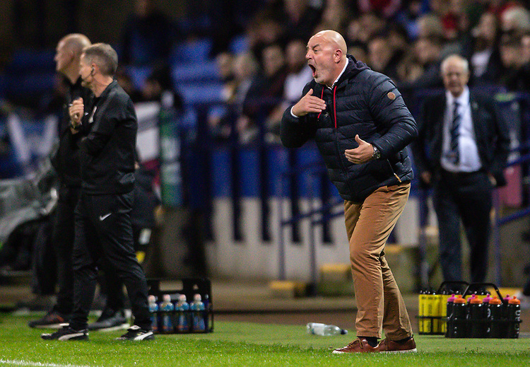 Bolton Wanderers' manager Keith Hill bellows instructions<br /> <br /> Photographer Andrew Kearns/CameraSport<br /> <br /> The EFL Sky Bet League One - Bolton Wanderers v Blackpool - Monday 7th October 2019 - University of Bolton Stadium - Bolton<br /> <br /> World Copyright © 2019 CameraSport. All rights reserved. 43 Linden Ave. Countesthorpe. Leicester. England. LE8 5PG - Tel: +44 (0) 116 277 4147 - admin@camerasport.com - www.camerasport.com