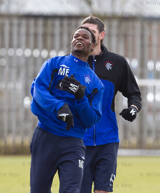 Maurice Edu takes aim and lobs a missile at the head of Boydie