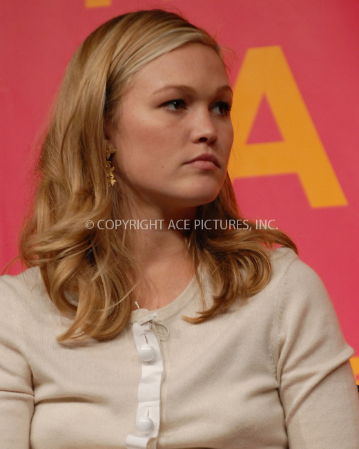 "WWW.ACEPIXS.COM . . . . .....April 27 2007, New York City....Actress Julia Stiles speak during the ""Bringing Home The Bacon"" panel discussion at the 2007 Tribeca Film Festival....Please byline: Kristin Callahan - ACEPIXS.COM..... *** ***..Ace Pictures, Inc:  ..Philip Vaughan (646) 769 0430..e-mail: info@acepixs.com..web: http://www.acepixs.com"