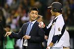 (L to R) <br /> Norichika Aoki, <br /> Hayato Sakamoto (JPN), <br /> NOVEMBER 14, 2014 - Baseball : <br /> 2014 All Star Series Game 2 <br /> between Japan and MLB All Stars <br /> at Tokyo Dome in Tokyo, Japan. <br /> (Photo by YUTAKA/AFLO SPORT)[1040]