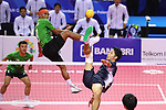 Yuki Sato (JPN), <br /> AUGUST 23, 2018 - Sepak takroae : <br /> Men's Doubles Preliminary match between Indonesia - Japan <br /> at Jakabaring Sport Center Ranau Hall <br /> during the 2018 Jakarta Palembang Asian Games <br /> in Palembang, Indonesia. <br /> (Photo by Yohei Osada/AFLO SPORT)