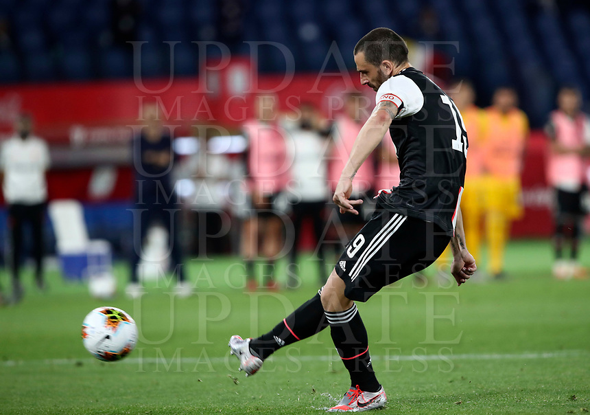 Juventus' Leonardo Bonucci kicks the ball during the penalty shootout of the Italian Cup football final match between Napoli and Juventus at Rome's Olympic stadium, June 17, 2020. Napoli won 4-2 at the end of a penalty shootout following a scoreless draw.<br /> UPDATE IMAGES PRESS/Isabella Bonotto