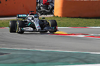 27th February 2020; Circuit De Barcelona Catalunya, Barcelona, Catalonia, Spain; Formula 1 2nd Pre season Testing Day Two; Mercedes AMG Petronas, Valtteri Bottas gets air on the curbs