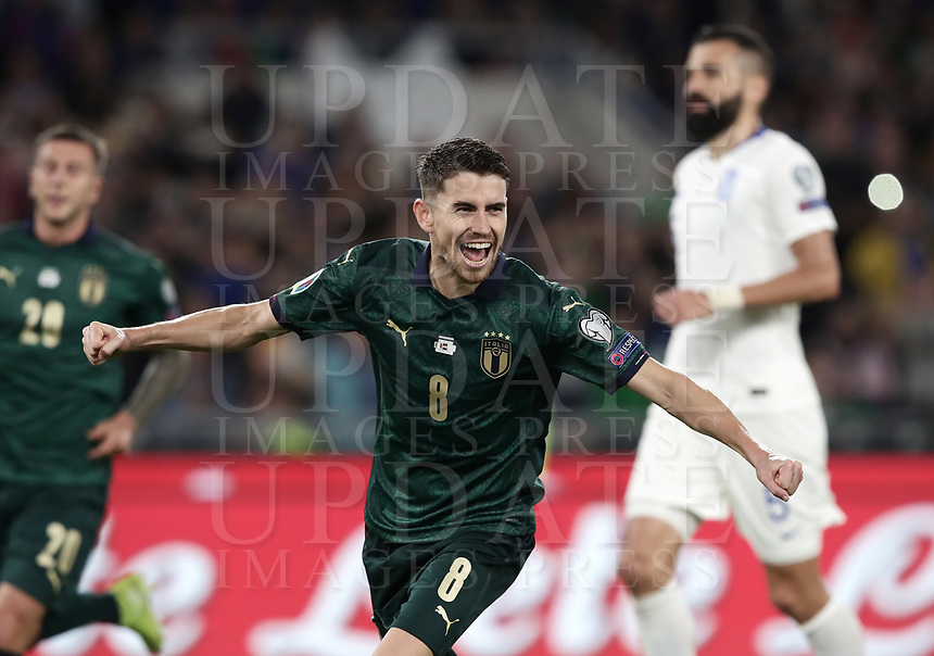 Football: Euro 2020 Group J qualifying football match Italy vs Greece at the Olympic stadium, in Rome, on October 12, 2019.<br /> Italy's Jorginho celebrates after scoring during the Euro 2020 qualifying football match between Italy and Greece at the Olympic stadium, in Rome, on October 12, 2019.<br /> UPDATE IMAGES PRESS/Isabella Bonotto