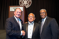 "Dr. Richard E. Holmes, center, became the first African American student admitted to Mississippi State University in 1965. Reared in Starkville, the retired physician and longtime Columbus resident was honored by his alma mater Thursday [Oct. 15] with a ""50 Years of Inclusion"" dinner in Colvard Student Union's Bill R. Foster Ballroom. Among those joining in the celebration were MSU President Mark E. Keenum, left, and guest speaker Dolphus Weary, co-founder of R.E.A.L. Christian Foundation in Richland. Holmes will serve as grand marshal in Friday's [Oct. 16] Homecoming Parade and also will be recognized during Saturday's [Oct. 17] football game at Davis Wade Stadium.(photo by Keats Haupt / © Mississippi State University)"