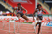 Daniel Williams (Jamaica) on her way to winning the women's 100m hurdles final during the IAAF Diamond League Athletics Müller Grand Prix Birmingham at Alexander Stadium, Walsall Road, Birmingham on 18 August 2019. Photo by Alan  Stanford.