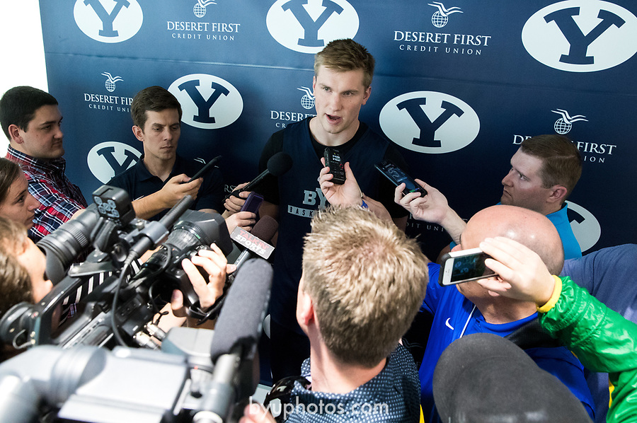 16-17mBKB Eric Mika Press Conf 018<br /> <br /> 16-17mBKB Eric Mika Press Conference<br /> <br /> BYU Basketball's Eric Mika holds a press conference to announce that he will declare for the NBA draft.<br /> <br /> March 22, 2017<br /> <br /> Photo by Jaren Wilkey/BYU<br /> <br /> &copy; BYU PHOTO 2017<br /> All Rights Reserved<br /> photo@byu.edu  (801)422-7322