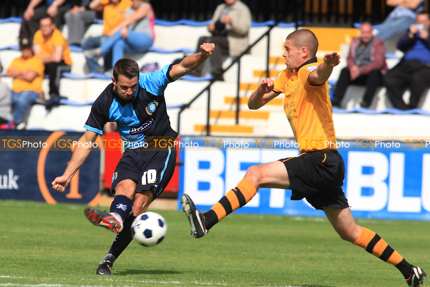 Wycombe's Matt Bloomfield takes a shot at the Cambridge goal - Cambridge United vs Wycombe Wanderers - Friendly Football Match at the R Costings Abbey Stadium, Cambridge - 04/08/12 - MANDATORY CREDIT: Paul Dennis/TGSPHOTO - Self billing applies where appropriate - 0845 094 6026 - contact@tgsphoto.co.uk - NO UNPAID USE.