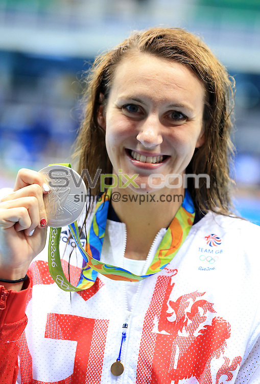 RIO DE JANEIRO, BRAZIL - AUGUST 12:  Jazz Carlin wins Silver in the Women's 800m Freestyle Final on Day 7 of the Rio 2016 Olympic Games at the Olympic Aquatics Stadium on August 12, 2016 in Rio de Janerio, Brazil.  (Photo by Vaughn Ridley/SWpix.com)