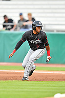 Birmingham Barons left fielder Luis Basabe (3) attempts to distract the pitch during a game against the Tennessee Smokies at Smokies Stadium on May 15, 2019 in Kodak, Tennessee. The Smokies defeated the Barons 7-3. (Tony Farlow/Four Seam Images)