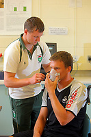 Pictured: Goalkeeper Dorus de Vries (R) gets a breathing measuring mask on with the help of Matthew Evans, student in Sports Science.<br />