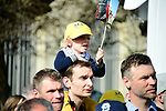 Young fans at sign on in Compiegne before the start of the 116th edition of Paris-Roubaix 2018. 8th April 2018.<br /> Picture: ASO/Pauline Ballet | Cyclefile<br /> <br /> <br /> All photos usage must carry mandatory copyright credit (&copy; Cyclefile | ASO/Pauline Ballet)