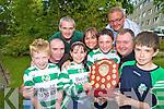Dean Farrell, Abigail Graham, Alexander Graham, Mike McCarthy, Kevin Dawson, Jimmy Smith, Susan Graham, Mark Jacob and Tim Cotter, Killarney Celtic, who received the Club of the Year award  at the Kerry Schoolboy soccer awards night in the Gleneagle on Friday night.....