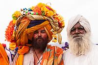 Asia,India,Punjab, Anandpur Sahib, sikh pilgrim with his giant turban to the Holla Mohalla annual festival