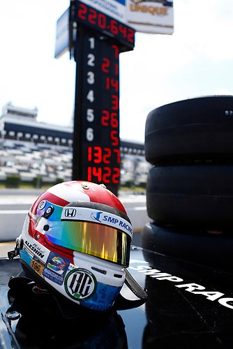 20-21 August, 2016, Long Pond, Pennsylvania USA<br /> Mikhail Aleshin's helmet in front of the scoring pylon showing his pole qualifying speed<br /> ©2016, Phillip Abbott<br /> LAT Photo USA