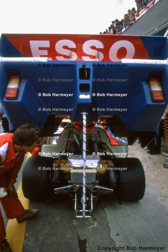 LE MANS, FRANCE: The rear bodywork is raised on a WM P82 Peugeot to allow access for a crew member before practice for the 24 Hours of Le Mans on June 20, 1982, at Circuit de la Sarthe in Le Mans, France.