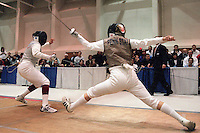 25 March 2001:  Iris Zimmermann of Stanford (left) in action against Marta Grochal of Penn State (right) in the Women's Foil Finals during the NCAA Women's 2001 Fencing Championships held at Petretti Fieldhouse on the campus of the University of Wisconsin - Parkside. Iris Zimmermann won the match and championship.  Allen Fredrickson/NCAA Photos