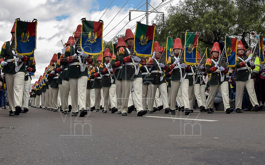 BOGOTÁ - COLOMBIA, 20-07-2018: Bandas marciales de los diferentes grupos de las fuerzas armadas durante el desfile Militar del 20 de Julio con motivo del 208 Aniversario de la Independencia de Colombia realizado por las calles de la ciudad de Bogotá. / xxx during July 20th Military Parade on the occasion of the 208th Anniversary Independence of Colombia that took place trough the streets of Bogota city. Photo: VizzorImage / Nicolas Aleman / Cont