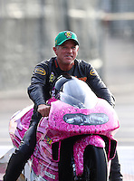 Nov 12, 2016; Pomona, CA, USA; NHRA pro stock motorcycle rider Jerry Savoie during qualifying for the Auto Club Finals at Auto Club Raceway at Pomona. Mandatory Credit: Mark J. Rebilas-USA TODAY Sports