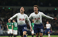 Tottenham Hotspur's Christian Eriksen celebrates scoring his side's first goal with Dele Alli<br /> <br /> Photographer Rob Newell/CameraSport<br /> <br /> The Premier League - Tottenham Hotspur v Brighton and Hove Albion - Tuesday 23rd April 2019 - White Hart Lane - London<br /> <br /> World Copyright © 2019 CameraSport. All rights reserved. 43 Linden Ave. Countesthorpe. Leicester. England. LE8 5PG - Tel: +44 (0) 116 277 4147 - admin@camerasport.com - www.camerasport.com