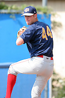 July 25th, 2007:  Tim Stronach of the Brooklyn Cyclones, Short-Season Class-A affiliate of the New York Mets a Dwyer Stadium in Batavia, NY.  Photo by:  Mike Janes/Four Seam Images
