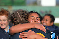 Kia Toa players celebrate winning the 2019 Manawatu premier women's club rugby Prue Christie Cup final match between Feilding Old Boys Oroua and Kia Toa at CET Arena in Palmerston North, New Zealand on Saturday, 13 July 2019. Photo: Dave Lintott / lintottphoto.co.nz