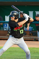 Zach Fisher (13) of the Great Falls Voyagers at bat against the Ogden Raptors at Lindquist Field on August 16, 2013 in Ogden Utah.  (Stephen Smith/Four Seam Images)