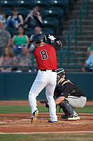 Preston Scott (8) of the Hickory Crawdads at bat against the Kannapolis Intimidators at L.P. Frans Stadium on July 20, 2018 in Hickory, North Carolina. The Crawdads defeated the Intimidators 4-1. (Brian Westerholt/Four Seam Images)