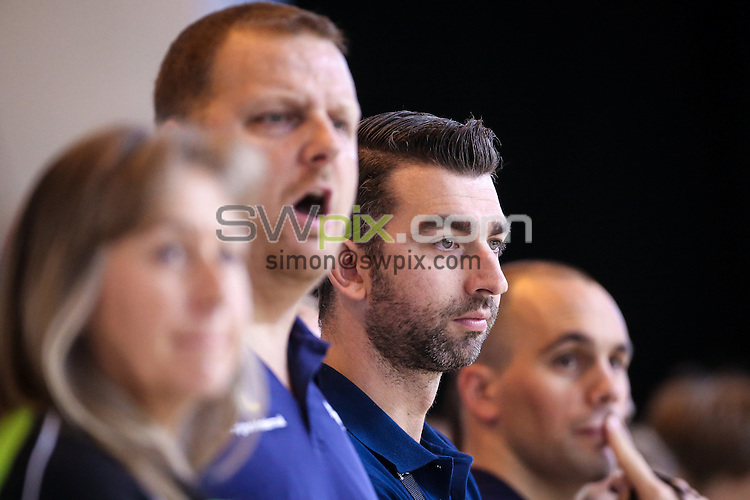 Picture by Alex Whitehead/SWpix.com - 15/04/2016 - Swimming - British Swimming Championships 2016 - Tollcross International Swimming Centre, Glasgow, Scotland - Great Britain and Loughborough coach James Gibson (second right) watches on.